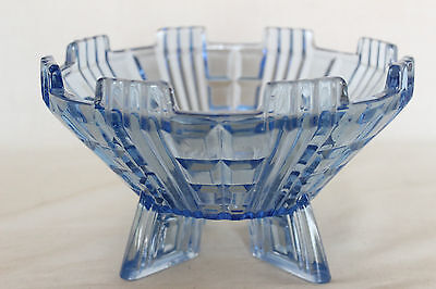 Art Deco Blue Glass Footed Bowl