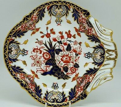 Antique Royal Crown Derby Kings Pattern 383. Shell Shaped Serving Dish. 1898
