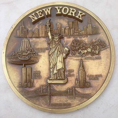 Metal Plaque New York World T C Brooklyn Bridge Statue Lib Empire St Rockefeller
