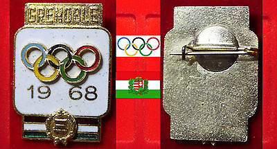 Olympia X. Olympic Games Grenoble 1968 Abzeichen Participant Team Ungarn Hungary