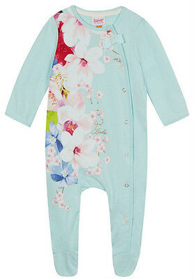 New Ted Baker Baby Girls Mint Floral Romper Sleepsuit Rose Gold Bow 3-6 Months
