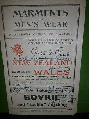 Very Rare Wales V New Zealand Rugby Programme 1946