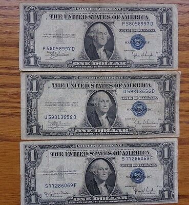 3 Us Silver Certificate $1 Blue Seal Bills Well Circulated Series 1935