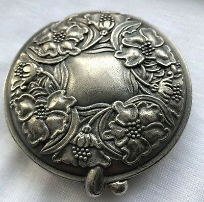 Womens Vintage? Pewter Round Floral Compact Mirror Photo Frame Collectable New?