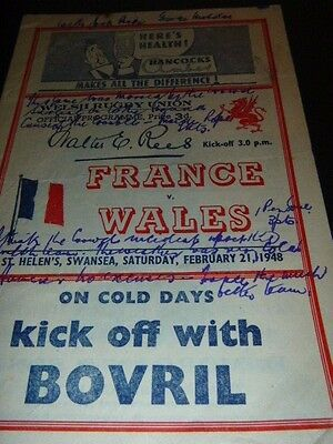 Very Rare Wales V France Rugby Programme 1948