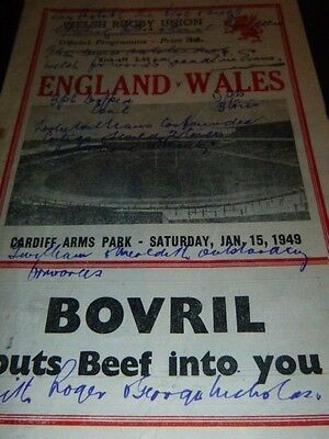 Very Rare Wales V England  Rugby Programme 1949