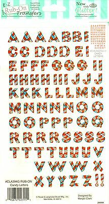 Candy Letters E-Z Rub-On Transfers Sheet (Decals) - Silver