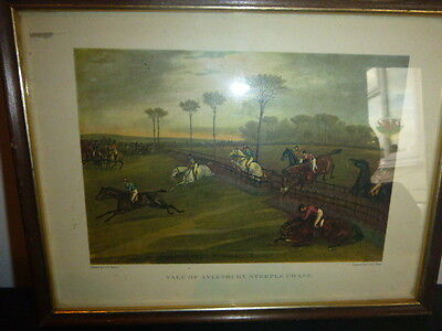"Vintage "" Vale Of Aylesbury "" Horse Racing Framed Engraving"