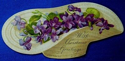 "Novelty VICTORIAN CHRISTMAS CARD ""Basket of Violets"" c.1880s 11 x 5cms"