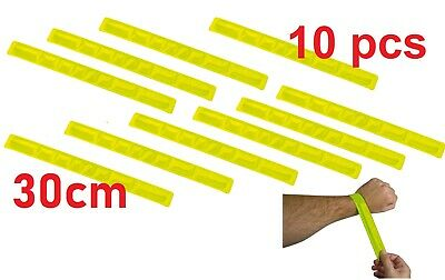 10 X HIGH VISIBILITY SLAP ARM BANDS WRIST BAND REFLECTIVE VIZ STRAP YELLOW 40cm