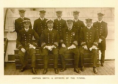 RMS Titanic Ship White Star Line, Postcard. Capt Smith  and Crew