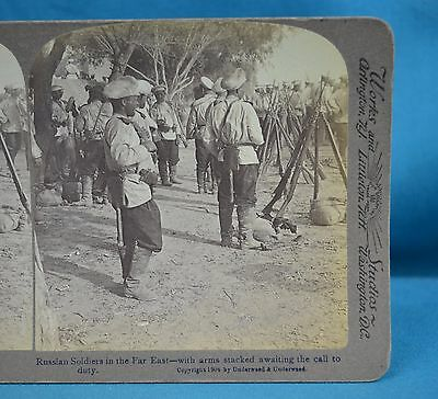 Stereoview Photo Russo-Japanese War Russian Soldiers In Manchuria China 中国