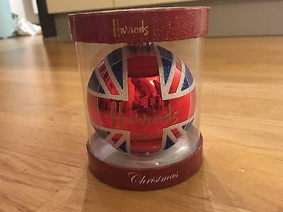 Harrods 2016 Christmas Bauble with a glittery Union Jack print