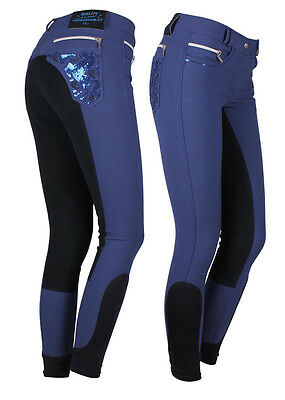 QHP Blue/Indigo Breeches with Leather Seat size 10