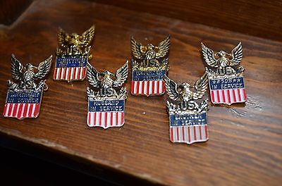 Ww Ii Rare Family Pin Back Button Collection Home Front War Time Sterling Medal