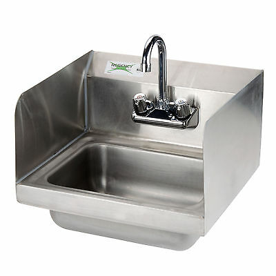 Wall Mount Hand Wash Sink Commercial Restaurant Sidesplash Stainless Steel NSF
