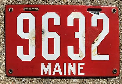 1911 Porcelain Maine License Plate First Issue #9632