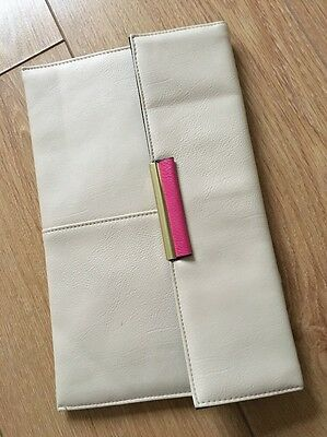 Dorthy Perkins Beige Hot Pink Clutch 20x30cm New Without Tag