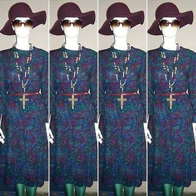 Vintage 1980's Paisley Two Piece, Top and Skirt by Ladies Pride. Size 14.