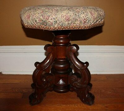 Antique Hand Carved Organ Stool / Piano Stool