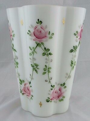 Consolidated Glass Hand Painted Con Cora Vase by Wally Hindle, with Sticker