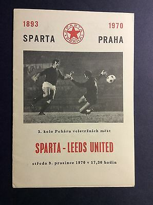 Sparta Prague v Leeds United Fairs Cup 3rd Round 2nd Leg 1970