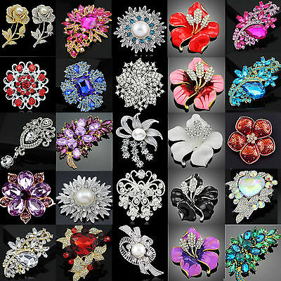 Fashion Silver Alloy Rhinestone Crystal Flower Wedding Bridal Bouquet Brooch Xma