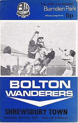 Bolton Wanderers v Shrewsbury Town FA Cup 2nd Round 1972/73