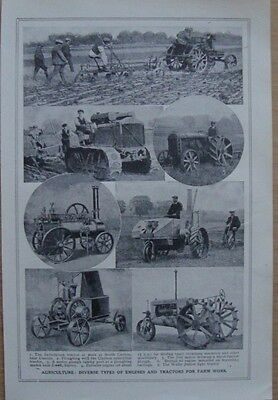 Old print Agriculture Types of Engines & tractors
