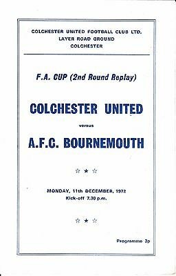 Colchester United v AFC Bournemouth FA Cup 2nd Round Replay 1972/73