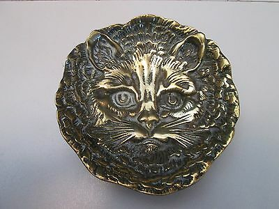 Vintage Solid Brass Cat Pin Coin Dish / Ashtray