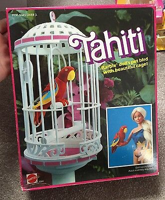 Vintage 1985 Tahiti Parrot & Cage From Barbie In Original Box