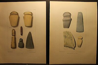 Seth Eastman, Indian Stone Axes, Hatchets and Chisels, 2 color liths, 1851