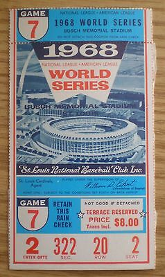 1968 Game 7 World Series ticket stub, rain check, St. Louis Cardinals, Tigers