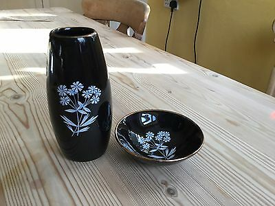 Vintage Wade pottery Black Frost design posy vase and small bowl