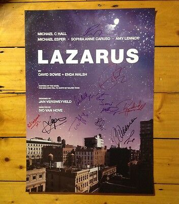 David Bowie's LAZARUS official poster signed by cast 2017 Kings Cross Theatre