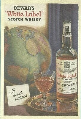 Dewar's White Label Scotch Whisky, Chrome, Unposted, Ad Card