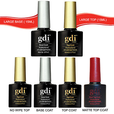 GDI NAILS TOP COAT & BASE COAT & MATTE TOP 8ml to 15ml UV LED GEL NAIL POLISH