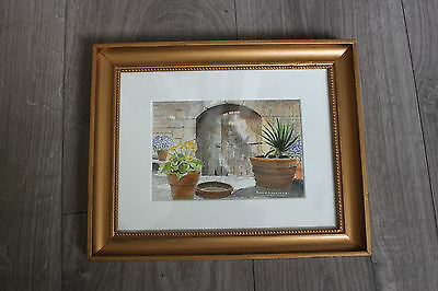 Mediterranean Courtyard Original Watercolour by David Laurence framed & mounted
