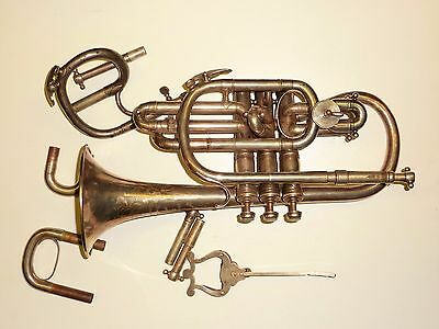 VINTAGE HAWKES & SONS CLIPPERTONE EXCELSIOR SONOROUS CLASS A CORNET Bb/A