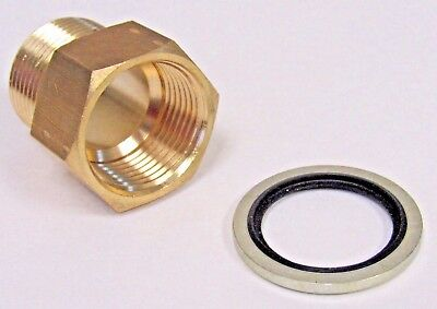 "Brass Adapter 1/2"" Npt Male X 1/2"" Bspp Female W/ Sealing Washer New"