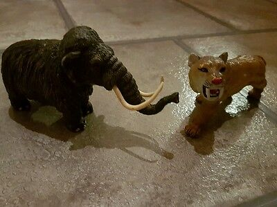 Plastic  Mammoth and Sabre Tooth Tiger