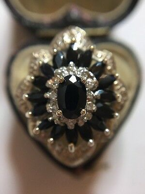 Vintage Antique Sapphire And Diamond Yellow Gold Extra Large Dress Ring