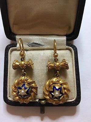 Victorian Antique Yellow Gold Ornate Large Earrings Enamel Pearl Rope
