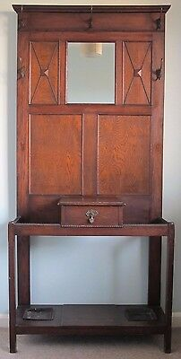 Edwardian Oak Hall Coat And Hat Stand