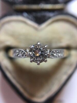 Antique Vintage Platinum And 18ct Yellow Gold Diamond Solitaire Stone Ring