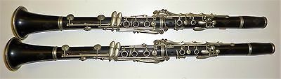 Pair Mid 20 Cent. Vintage Wooden Buffet Crampon Paris Made in France Clarinets