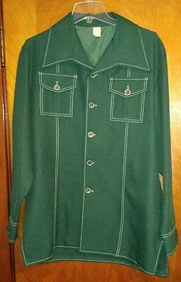 Vintage 1970s Green Polyester Leisure Suit Jacket Disco Large Butterfly Collar