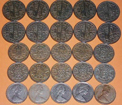 Joblot of Half Crowns, Two Shillings & 10p Coins
