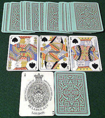 ANTIQUE 1890s DE LA RUE * TWO TONE GREEN + RED GEOMETRIC PATTERN * PLAYING CARDS